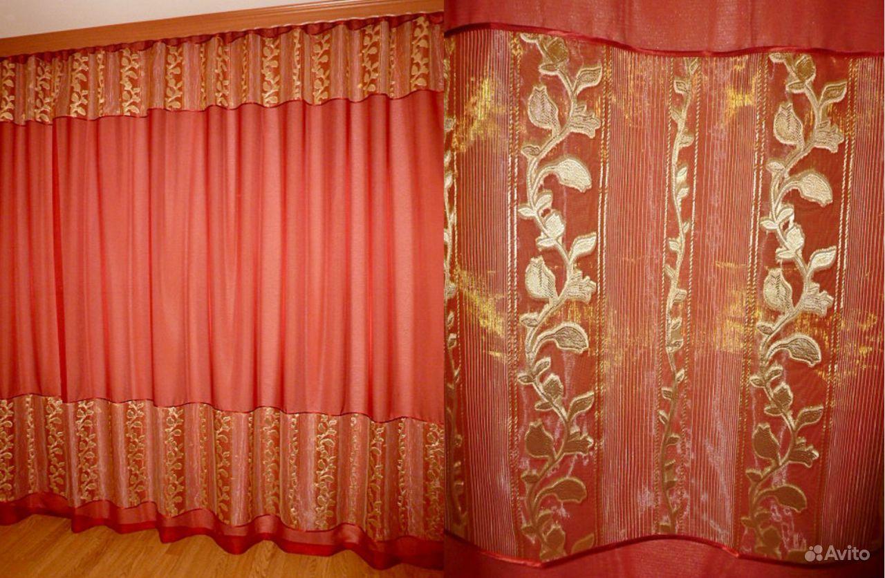 Тюль с бордовыми цветами фото