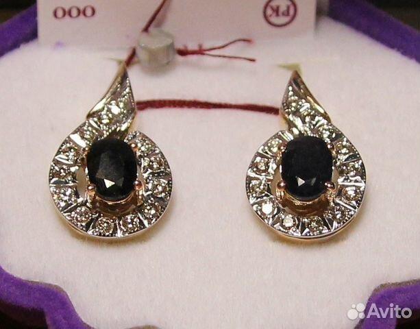 Серьги сапфиры 2,14ct бриллианты 0,5 ct золото 585 купить в Санкт ... 603a88169d9