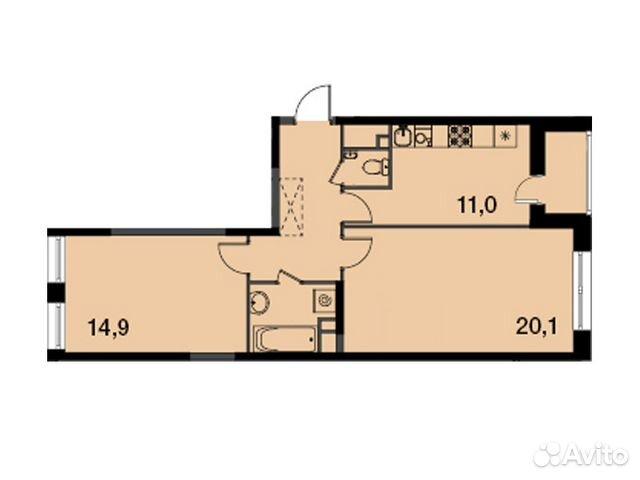 2-к квартира, 59.6 м², 13/16 эт.