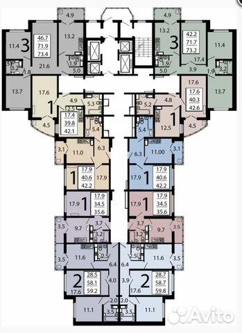 3-к квартира, 72.7 м², 3/25 эт.  89290111193 купить 2
