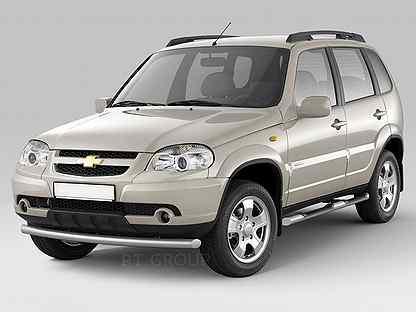 Пороги Chevrolet niva с накладками Серебристые