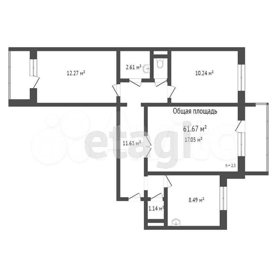 3-к квартира, 61.7 м², 5/5 эт.