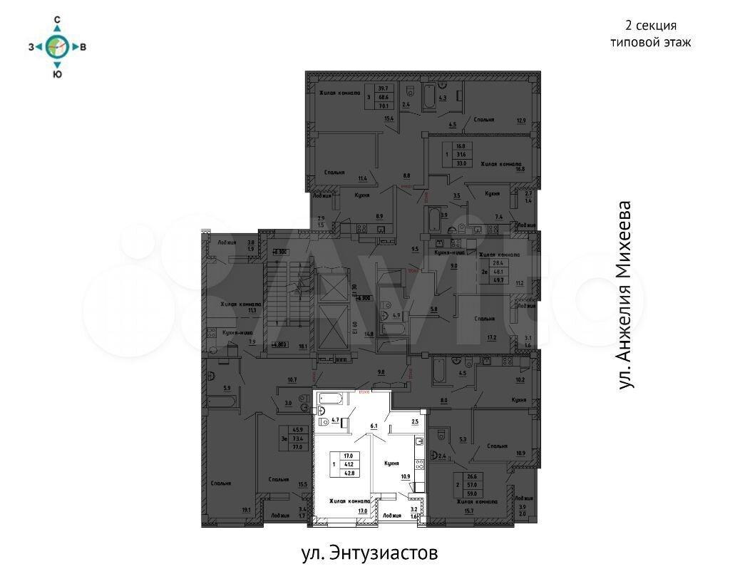 1-к квартира, 42.8 м², 12/17 эт.