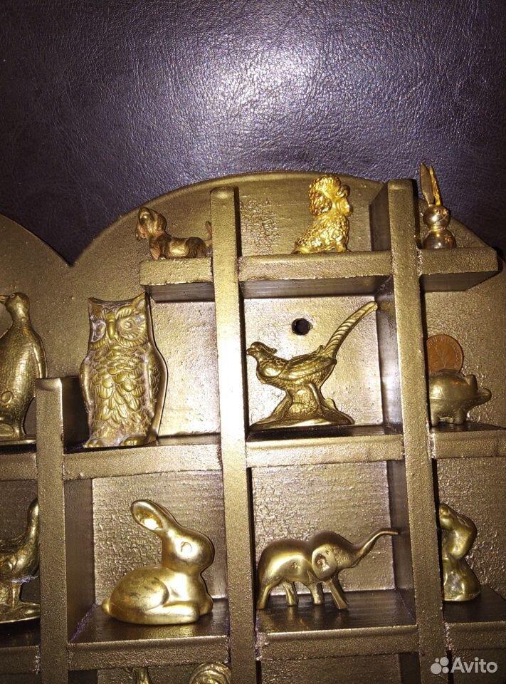 Коллекция миниатюр Латунь Животные Полочка дерево  89107480901 купить 3